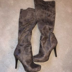 BCBG Suede-like Brown knee high boots